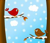stock photo of cardinals  - Christmas Red Cardinal Bird Pair Sitting on Tree Branches Winter Scene Illustration - JPG