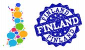 Social Network Map Of Finland And Blue Grunge Stamp Seal. Mosaic Map Of Finland Is Composed With Dia poster