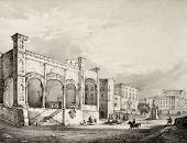 Antique illustration of St. Maria della Catena church entrance, in Palermo, Italy. The original engr