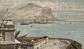 Постер, плакат: Старый печати показывает вид на залив Палермо Porta Felice терраса на крыше Оригинальные гравюры может