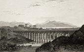 picture of pilaster  - Old illustration of an aqueduct near Palermo - JPG