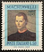 ITALY - CIRCA 1969: a stamp printed in Italy celebrates the fifth centenary of Nicol�² Machiavelli
