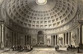 Antique illustration of  Pantheon in Rome, Italy. Original, created by W. H. Bartlett and E. Challis