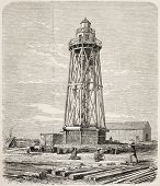 Port Said lighthouse just built while working on the Suez canal opening. Original, from drawing of B