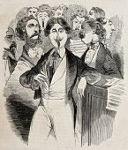 Antique caricatural illustration of singers. Original, from drawing of Carlo Gripp, was published on