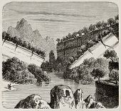 stock photo of mudslide  - Antique illustration of earth sliding caused by watering - JPG