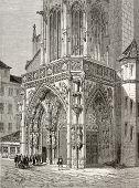 Постер, плакат: Старый иллюстрация церкви Пресвятой Богородицы Фрауенкирхе главный вход в Нюрнберге Германия Созданный b