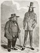 Old illustration of eccentric slim and fat men in southern America. Created by Riou and Pannemaker,