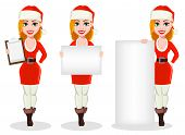 Merry Christmas. Beautiful Woman In Santa Claus Costume, Set Of Three Poses. Cartoon Character Holdi poster