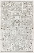 Old plan of Beijing. Engraved by Erhard and Bonaparte, after antique Chines relief plan. Published o