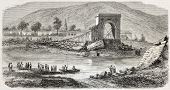 Old illustration of fallen bridge near Tournon, on the Doux river. Created by Berne, published on L'