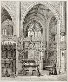 Old illustration of Margaret of Austria tomb in the Royal Monastery of Brou, France. Created by Matt