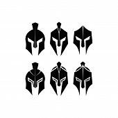 Silhouettes Spartan Helmet Isolated From The Background. Vector Set Of Roman Or Greek Warrior Helmet poster