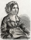 stock photo of constantinople  - Old engraved portrait of Armenian woman in Constantinople - JPG
