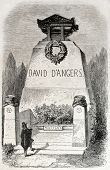 Old illustration of funereal monument of David d Angers, French sculptor. Created by Provost, publis