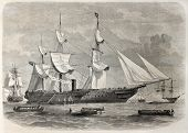 Old illustration of troops boarding in Spithead, England, leaving for India. By unidentified author,