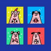 Pig Cards Set. Funny Pigs With Candy Canes, Gifts And Santa Hats. 2019 Chinese New Year Symbol. Dood poster