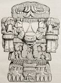 Teoyaomicqui, Aztec god of dead lost souls, old illustration. By unidentified author, published on M
