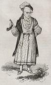 Постер, плакат: Старый гравированный портрет Уильяма Соммерс суд Шут Генриха VIII Англии От неопознанных aut