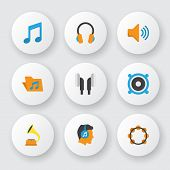 Audio Icons Flat Style Set With Voice, Listen, Bullhorn And Other Audio Elements. Isolated Vector Il poster