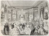 Emperor Napoleon III and empress at Grand Ball given by Duke of Bunrgundy in Dijon. Created by Godef