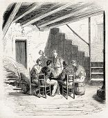Garibaldian soldiers sitting around a inn table in Faro, near Messina. Created by Worms, published o