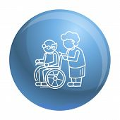 Old Person In Wheel Chair Concept Background. Outline Old Person In Wheel Chair Vector Concept Backg poster