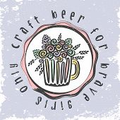 Craft Beer Hand Drawn Element Leaflet In Circle. Outline Black Icon Of Craft Beer Things. Craft Beer poster