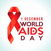 Awareness Red Ribbon - Symbol For The Solidarity Of People Living With Hiv. World Aids Day 1 Decembe poster