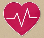 Heart beat frequency icon illustration poster