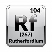 Rutherfordium Symbol.chemical Element Of The Periodic Table On A Glossy White Background In A Silver poster