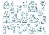 Winter Ice Skating Outline Icon Set. Woman Figure Ice Skate, Man Skate, Penguin For Kids Learing, Ha poster