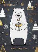 Cute Polar Bear With Merry Christmas Inscription. Winter Greeting Card Of A Cute Hand Drawn Polar Be poster