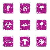Climatic Icons Set. Grunge Set Of 9 Climatic Vector Icons For Web Isolated On White Background poster