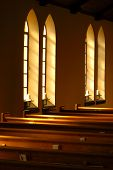 foto of pews  - Light beaming through church windows in the early morning - JPG