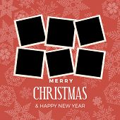 Christmas And Winter Background With Photos, Blank Frames. Vector Template With Pictures To Insert poster
