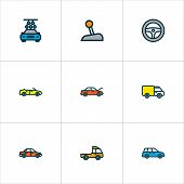 Automobile Icons Colored Line Set With Steering Wheel, Gear, Prime-mover And Other Sport  Elements.  poster