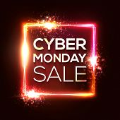 Cyber Monday Shopping Banner In Neon Style. Square Background With Abstract Lights And Sparkles. Cyb poster