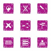 Choice Of The Way Icons Set. Grunge Set Of 9 Choice Of The Way Vector Icons For Web Isolated On Whit poster