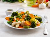 Mix Of Boiled Vegetables, Steam Vegetables For Dietary Low-calorie Diet. Broccoli, Carrots, Cauliflo poster