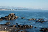 Oregon Coastline In Newport Oregon From Yaquina Head Outstanding Natural Area Along The Pacific Ocea poster