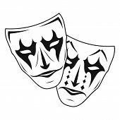Original Vector Illustration Of Theatre Masks. Comedy And Tragedy, In A Vintage Style. Kind And Evil poster
