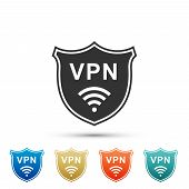 Shield With Vpn And Wifi Wireless Internet Network Symbol Icon Isolated On White Background. Vpn Pro poster