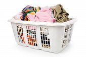 picture of dirty-laundry  - laundry basket and dirty clothing with white background - JPG