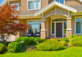 picture of front door  - Entrance of a large luxury house with beautiful outdoor landscape - JPG
