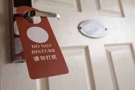 picture of door-handle  - sign on the door handle do not disturb - JPG