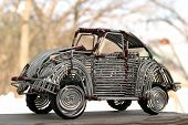 foto of beetle car  - vw beetle toy handcrafted from wire - JPG