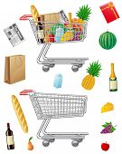 Shopping Cart With Purchases And Foods