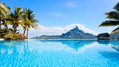 image of french polynesia  - Beautiful view of Otemanu mountain on Bora Bora island - JPG