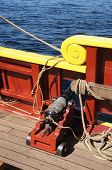 foto of brig  - Small naval cannon on board historical wooden brig - JPG